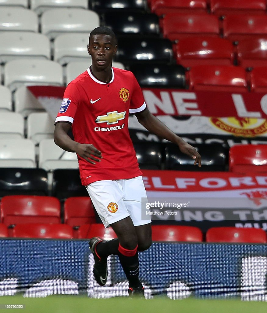 Axel Tuanzebe of Manchester United U21s in action during the Barclays U21 Premier League match between Manchester United and Tottenham Hotspur at Old Trafford on March 10, 2015 in Manchester, England.