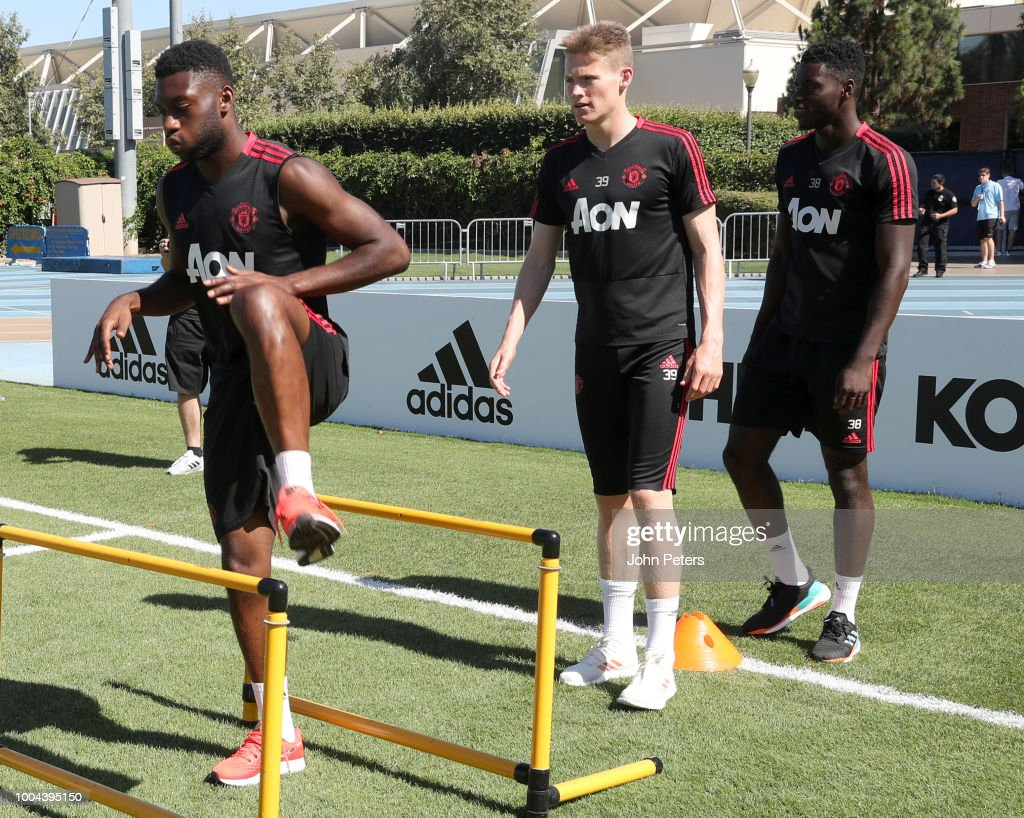 Axel Tuanzebe, Tim Fosu-Mensah and Scott McTominay of Manchester United in action during a Manchester United pre-season training session at UCLA on July 23, 2018 in Los Angeles, California.