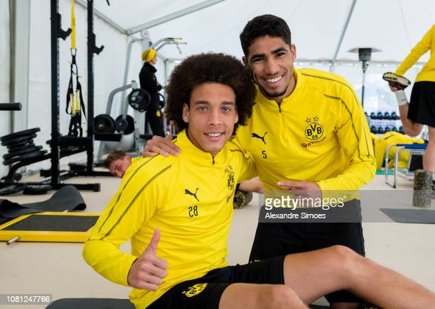 MARBELLA SPAIN 120112019 Axel Witsel and Achraf Hakimi of Borussia Dortmund during a training session as part of the training camp of Borussia...