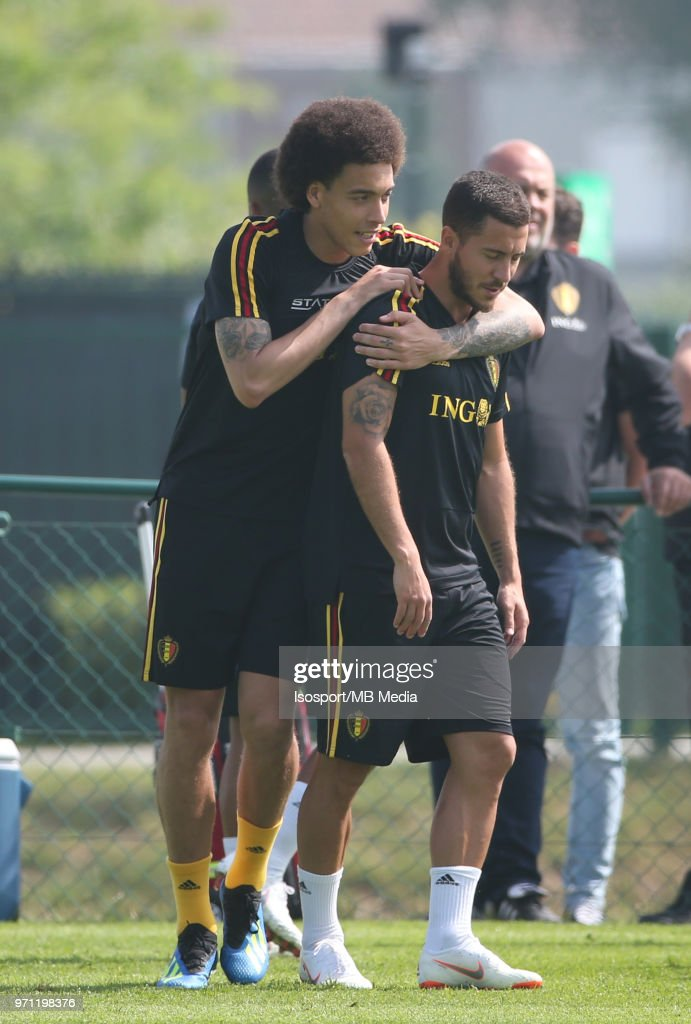 Axel WITSEL and Eden HAZARD pictured during a training session of the Belgian national soccer team ' Red Devils ' at the Belgian National Football Center, as part of preparations for the 2018 FIFA World Cup in Russia, on June 4, 2018 in Tubize, Belgium. Photo by Vincent Van Doornick - Isosport
