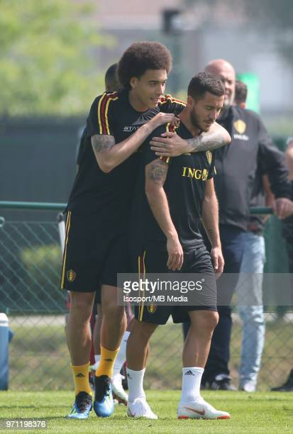 Axel WITSEL and Eden HAZARD pictured during a training session of the Belgian national soccer team ' Red Devils ' at the Belgian National Football...