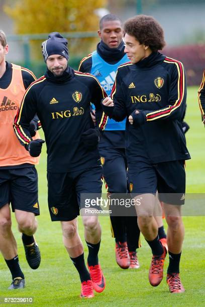 Axel Witsel midfielder of Belgium and Laurent Ciman defender of Belgium picture during the press conference and training session of the Red Devils at...