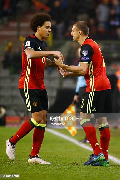 Axel Witsel midfielder of Belgium and Simons Timmy midfielder of Belgium during the World Cup Qualifier Group H match between Belgium and Estonia at...