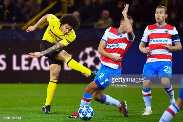 Axel Witsel midfielder of Borussia Dortmund Sofyan Amrabat midfielder of Club Brugge during the UEFA Champions League group A match between Borussia...