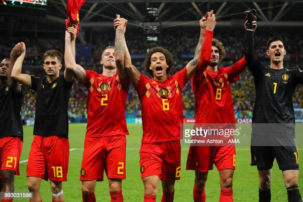 Axel Witsel of Belgium and his teammates celebrate at the end of the 2018 FIFA World Cup Russia Quarter Final match between Brazil and Belgium at...