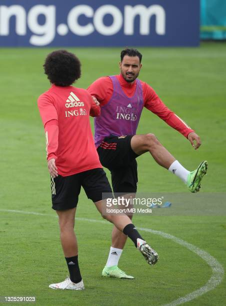 """Axel Witsel of Belgium and Nacer Chadli of Belgium during a training session of the Belgian national soccer team """" The Red Devils """" ahead of the UEFA..."""