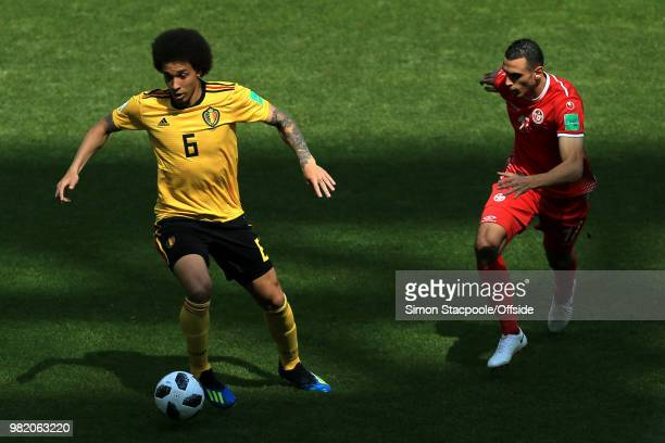 Axel Witsel of Belgium battles with Ellyes Skhiri of Tunisia during the 2018 FIFA World Cup Russia Group G match between Belgium and Tunisia at...