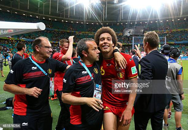 Axel Witsel of Belgium celebrate the 21 win with his team staffs after the 2014 FIFA World Cup Brazil Round of 16 match between Belgium and USA at...