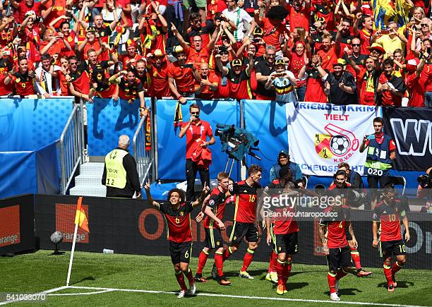 Axel Witsel of Belgium celebrates scoring his team's second goal with his team mates during the UEFA EURO 2016 Group E match between Belgium and...