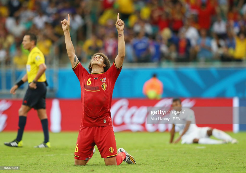 Axel Witsel of Belgium celebrates the 2-1 win after the 2014 FIFA World Cup Brazil Round of 16 match between Belgium and USA at Arena Fonte Nova on July 1, 2014 in Salvador, Brazil.