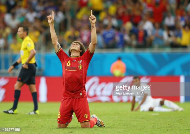 Axel Witsel of Belgium celebrates the 21 win after the 2014 FIFA World Cup Brazil Round of 16 match between Belgium and USA at Arena Fonte Nova on...