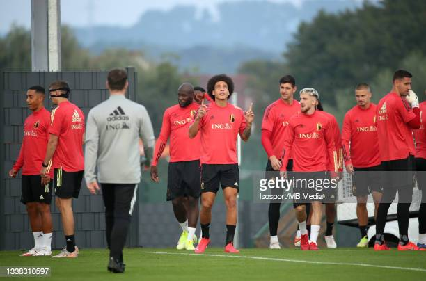 """Axel Witsel of Belgium during a training session of the Belgian national soccer team """" The Red Devils """" ahead of the upcoming FIFA World Cup Qatar..."""