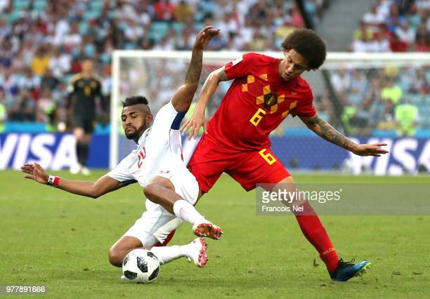 Axel Witsel of Belgium is challenged by Anibal Godoy of Panama during the 2018 FIFA World Cup Russia group G match between Belgium and Panama at...