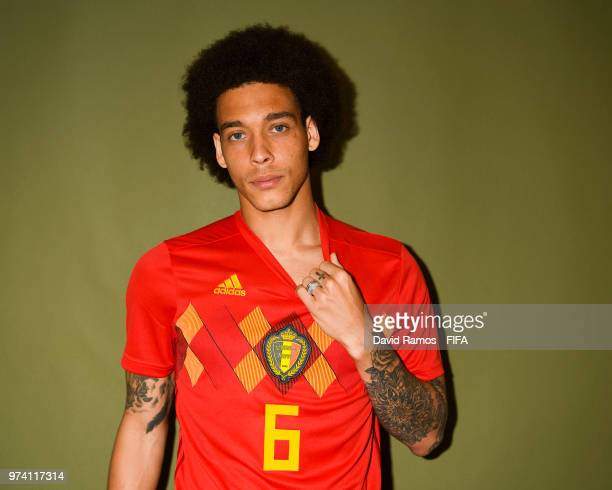 Axel Witsel of Belgium poses during the official FIFA World Cup 2018 portrait session at the Moscow Country Club on June 14, 2018 in Moscow, Russia.
