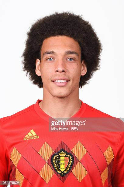 Axel Witsel of Belgium poses for a portrait during the official FIFA World Cup 2018 portrait session at the Moscow Country Club on June 14 2018 in...