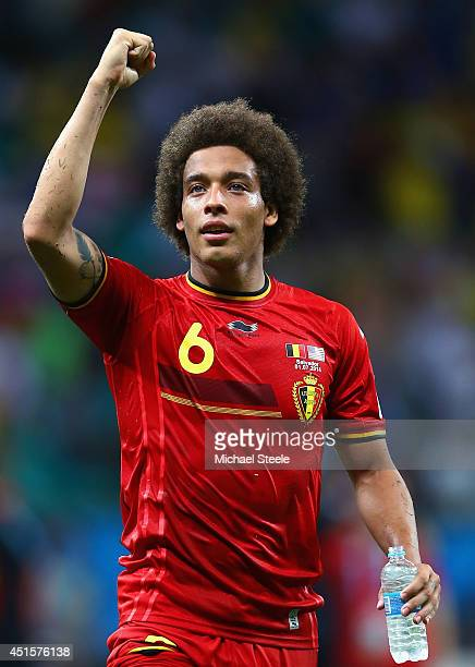 Axel Witsel of Belgium reacts after defeating the United States 21 in extra time during the 2014 FIFA World Cup Brazil Round of 16 match between...
