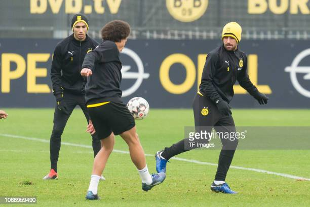 Axel Witsel of Borussia Dortmund and Paco Alcacer of Borussia Dortmund battle for the ball during a training session at BVB training center on...