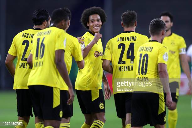 Axel Witsel of Borussia Dortmund and teammates celebrate their side's fourth goal during the DFB Cup first round match between MSV Duisburg and...