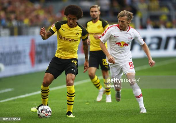 Axel Witsel of Borussia Dortmund beats Emil Forsberg of RB Leipzig to the ball during the Bundesliga match between Borussia Dortmund and RB Leipzig...