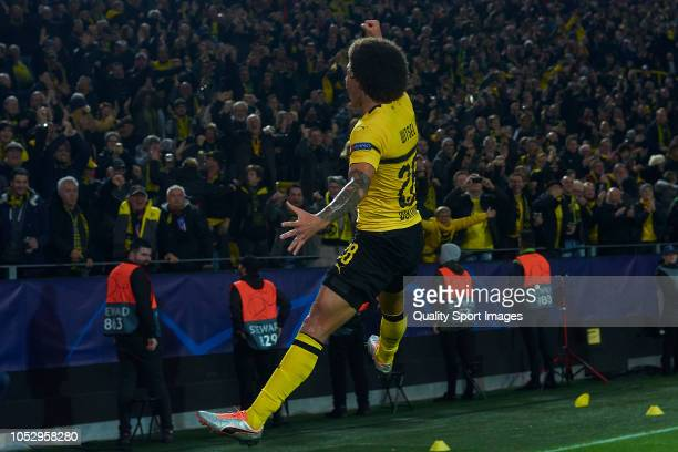 Axel Witsel of Borussia Dortmund celebrates after scoring his team's first goal during the Group A match of the UEFA Champions League between...