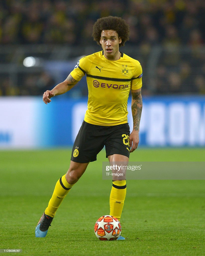 Uefa Champions League Round Of: Axel Witsel Of Borussia Dortmund Controls The Ball During