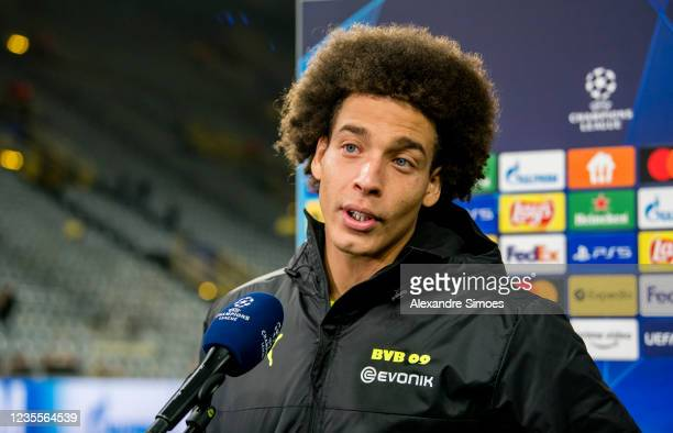 Axel Witsel of Borussia Dortmund is giving an interview after the final whistle during the Champions League Group C match between Borussia Dortmund...