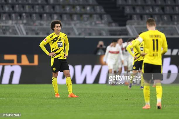 Axel Witsel of Borussia Dortmund looks dejected after his team concede a fifth goal during the Bundesliga match between Borussia Dortmund and VfB...