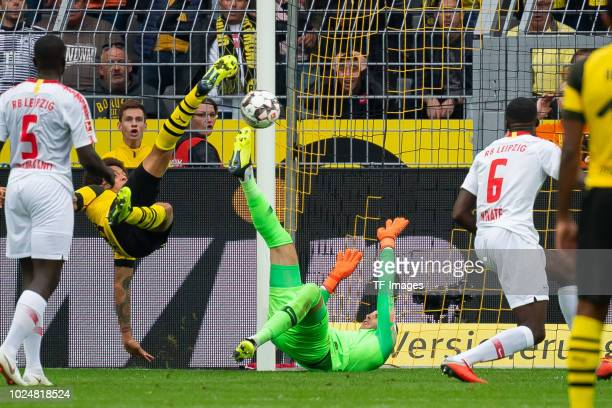 Axel Witsel of Borussia Dortmund scores the team`s third goal during the Bundesliga match between Borussia Dortmund and RB Leipzig at Signal Iduna...