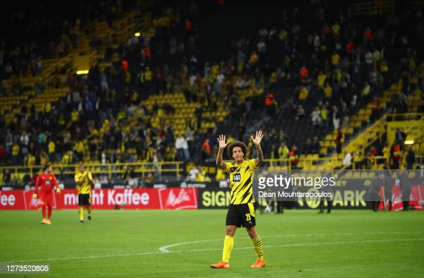 Axel Witsel of Borussia Dortmund shows appreciation to the fans after the Bundesliga match between Borussia Dortmund and Borussia Moenchengladbach at...