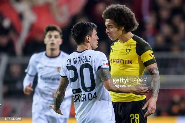 Axel Witsel of Dormtund head to head with Charles Aranguiz of Bayer Leverkusen during the Bundesliga match between Borussia Dortmund and Bayer 04...