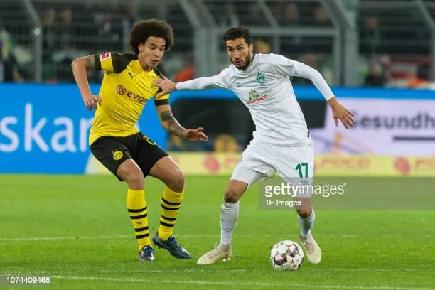 Axel Witsel of Dortmund and Nuri Sahin of Werder Bremen battle for the ball during the Bundesliga match between Borussia Dortmund and SV Werder...