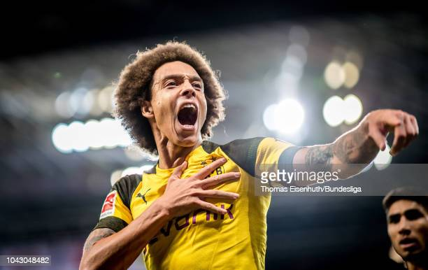 Axel Witsel of Dortmund celebrates after his team's second goal goal during the Bundesliga match between Bayer 04 Leverkusen and Borussia Dortmund at...