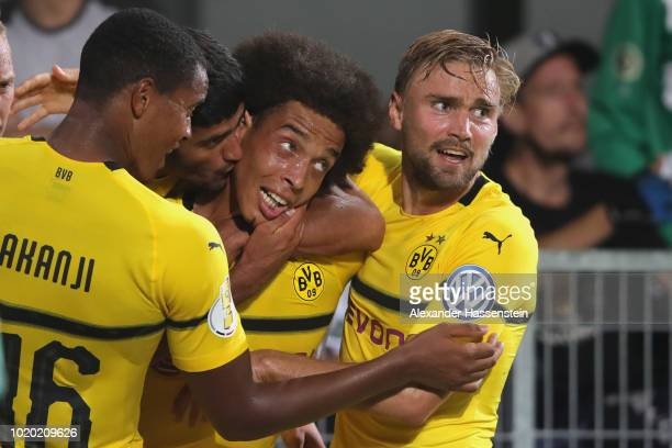 Axel Witsel of Dortmund celebrates scoring the fisrt team goal during the DFB Cup first round match between SpVgg Greuther Fuerth and BVB Borussia...