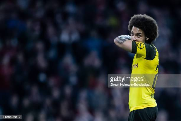 Axel Witsel of Dortmund is dejected during the Bundesliga match between FC Bayern Muenchen and Borussia Dortmund at Allianz Arena on April 6, 2019 in...