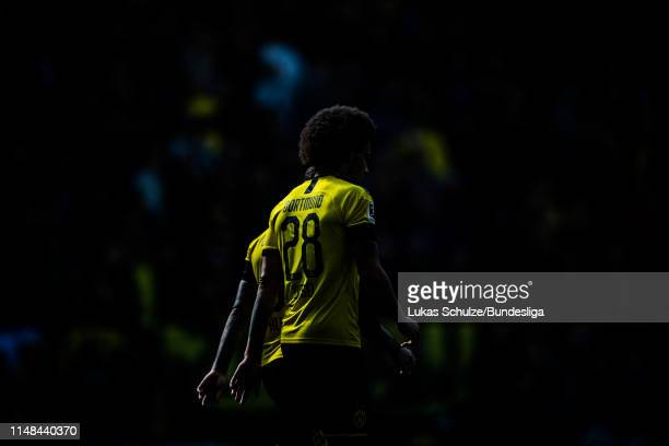 Axel Witsel of Dortmund is lit by the sun during the Bundesliga match between Borussia Dortmund and Fortuna Düsseldorf at Signal Iduna Park on May 11...