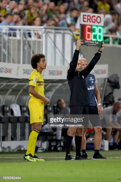 Axel Witsel of Dortmund looks on prior to his substitution during the DFB Cup first round match between SpVgg Greuther Fuerth and BVB Borussia...
