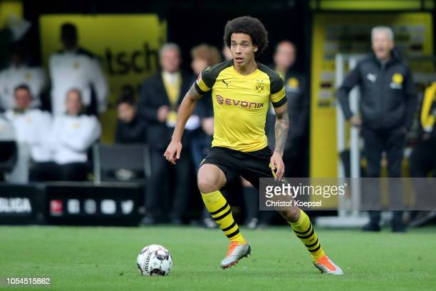 Axel Witsel of Dortmund runs with the ball during the Bundesliga match between Borussia Dortmund and Hertha BSC at Signal Iduna Park on October 27...