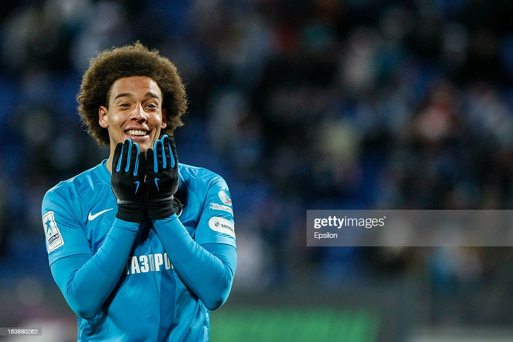 Axel Witsel of FC Zenit St. Petersburg reacts during the Russian Football League Championship match between FC Zenit St. Petersburg and FC Mordovia Saransk at the Petrovsky Stadium on March 17, 2013 in St. Petersburg, Russia.