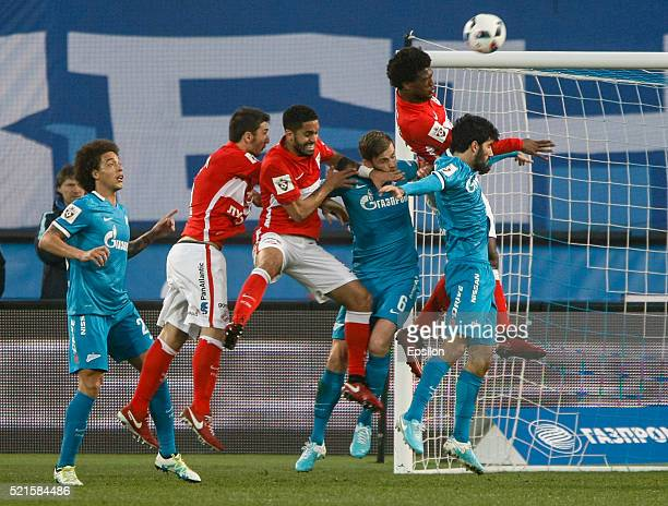 Axel Witsel of FC Zenit St Petersburg Salvatore Bocchetti of FC Spartak Moscow Romulo of FC Spartak Moscow Nicolas Lombaerts of FC Zenit St...