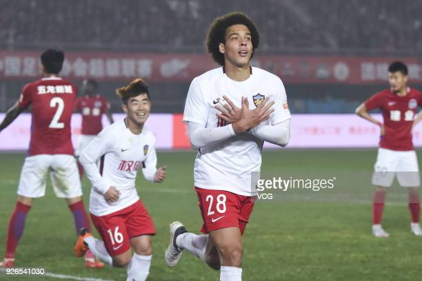 Axel Witsel of Tianjin Quanjian celebrates after scoring a goal during the 2018 Chinese Football Association Super League first round match between...