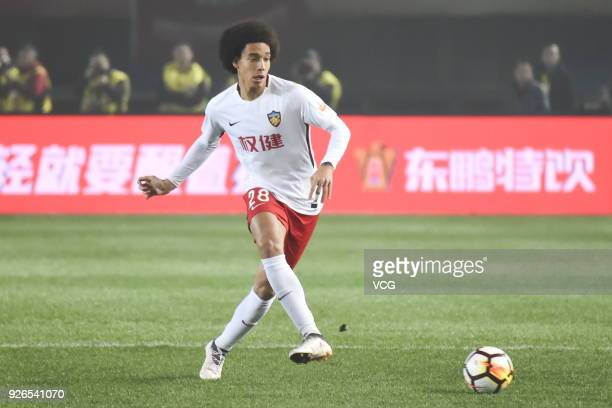 Axel Witsel of Tianjin Quanjian drives the ball during the 2018 Chinese Football Association Super League first round match between Henan Jianye and...
