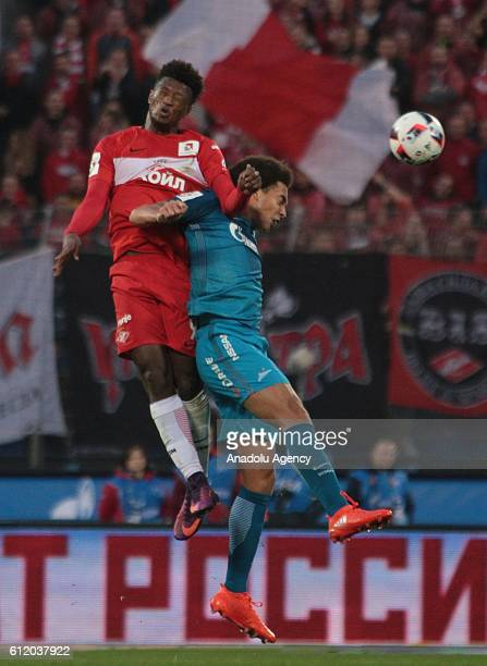 Axel Witsel of Zenit StPetersburg in action against Ze Luis of Spartak Moscow during Russian Footbal PremiereLeague football match between Zenit...