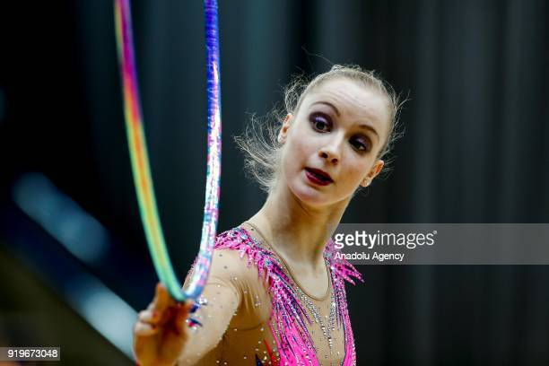 Axelle Jovenin of France performs during the 2018 Moscow Rhythmic Gymnastics Grand Prix GAZPROM Cup in Moscow on February 17, 2018.