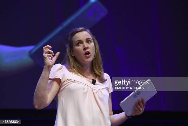 Axelle Lemaire French Ministry of State for Digital Affairs speaks about the French Tech Ticket during the French Touch Conference at the AXA Center...