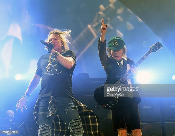 Axl Rose and Angus Young of AC/DC perform at Philips Arena on September 1 2016 in Atlanta Georgia