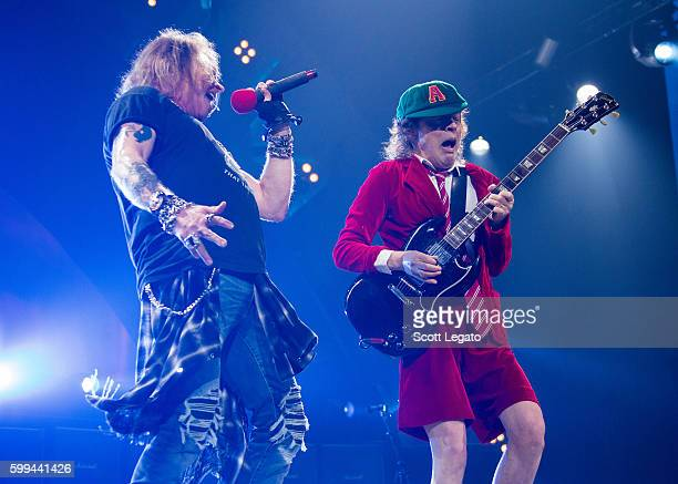 Axl Rose and Angus Young of AC/DC perform during the Rock Or Bust Tour at Nationwide Arena on September 4 2016 in Columbus Ohio