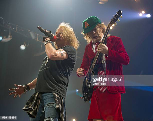 Axl Rose and Angus Young of AC/DC performs live onstage at Nationwide Arena on September 4 2016 in Columbus Ohio