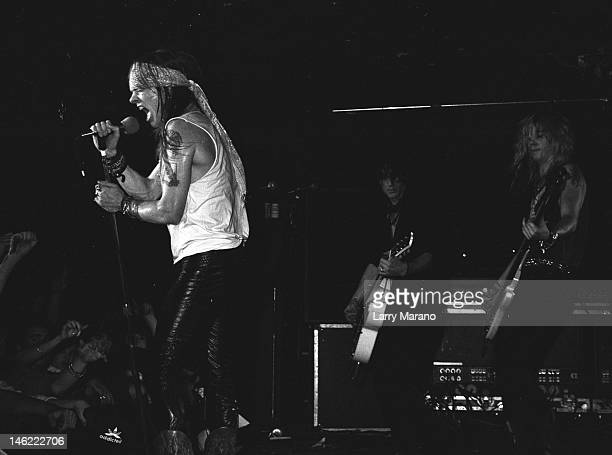 Axl Rose and Duff McKagan of Guns N Roses perform at Sundance On October 16 1987 In Bayshore New York