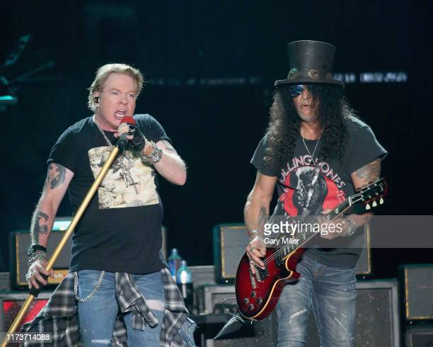 Axl Rose and Slash of Guns N' Roses perform in concert during weekend one of the 2019 ACL Fest at Zilker Park on October 4, 2019 in Austin, Texas.