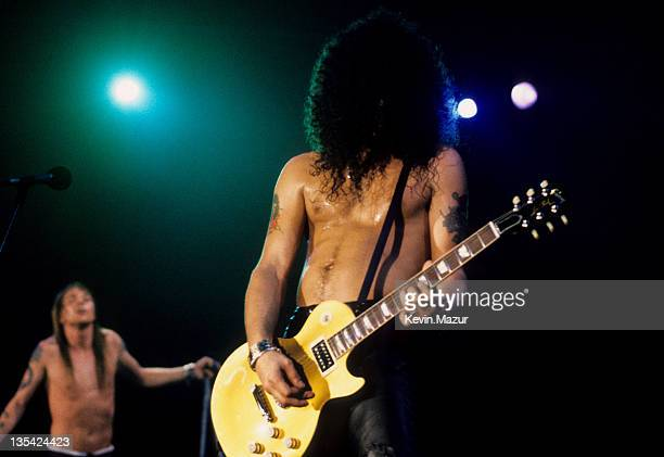 Axl Rose and Slash of Guns N Roses perform live at Rock In Rio II on January 15 1991 in Rio De Janeiro Brazil